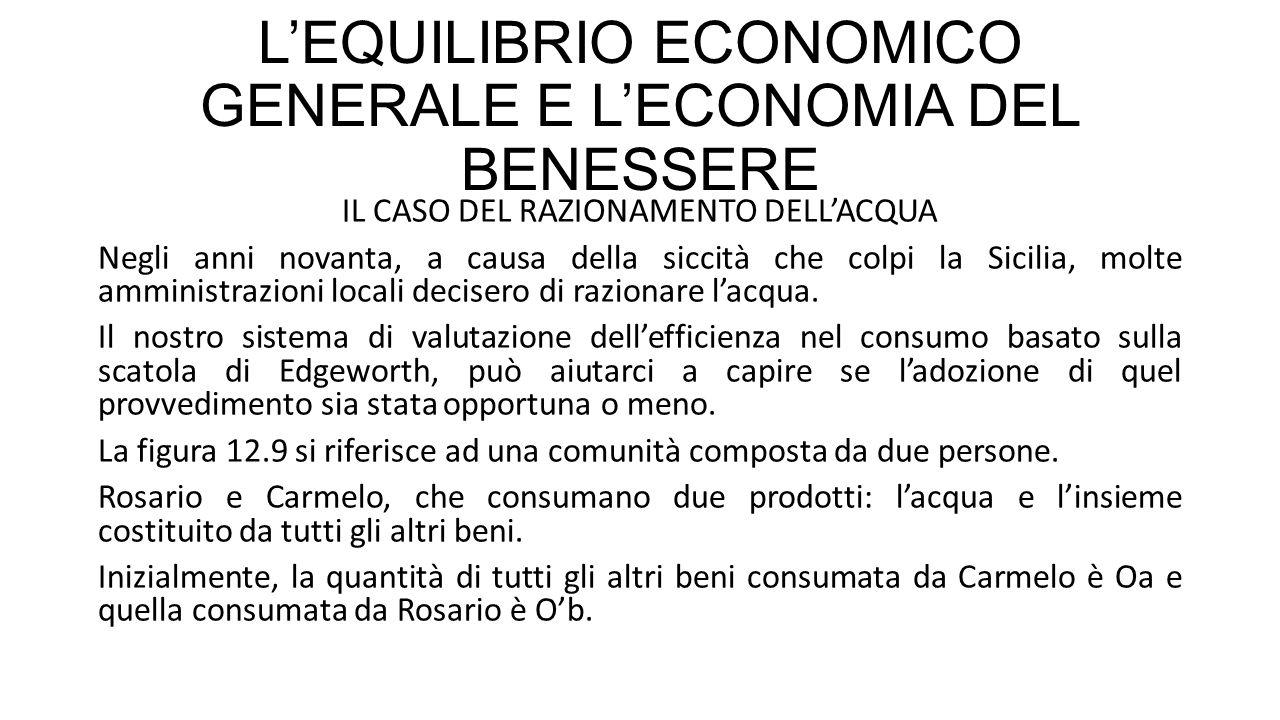 L'EQUILIBRIO ECONOMICO GENERALE E L'ECONOMIA DEL BENESSERE IL CASO DEL RAZIONAMENTO DELL'ACQUA Negli anni novanta, a causa della siccità che colpi la Sicilia, molte amministrazioni locali decisero di razionare l'acqua.