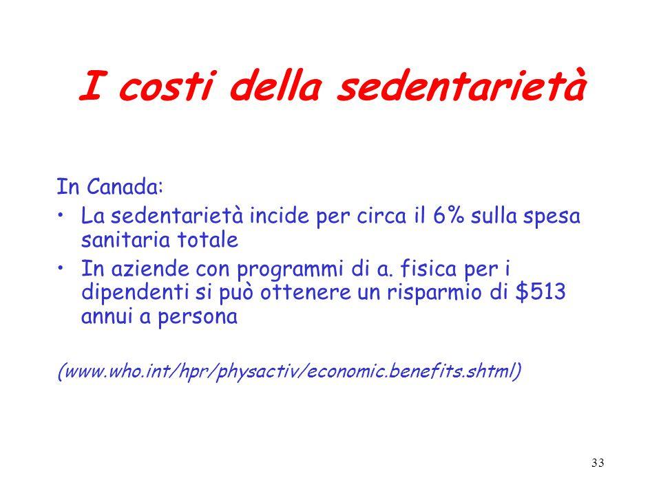 33 I costi della sedentarietà In Canada: La sedentarietà incide per circa il 6% sulla spesa sanitaria totale In aziende con programmi di a.