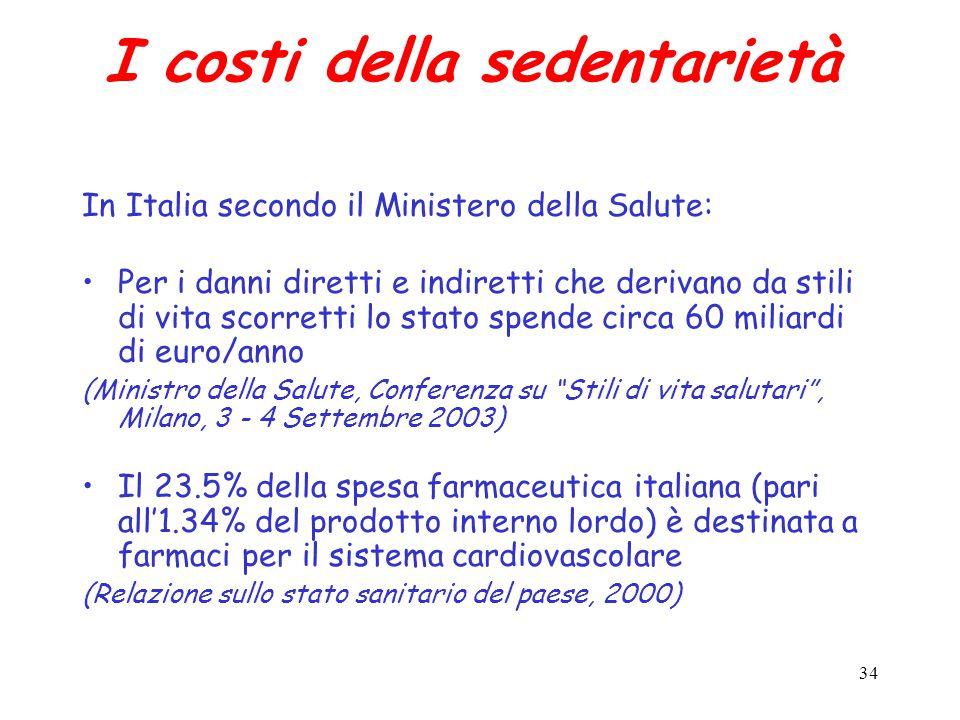 34 I costi della sedentarietà In Italia secondo il Ministero della Salute: Per i danni diretti e indiretti che derivano da stili di vita scorretti lo stato spende circa 60 miliardi di euro/anno (Ministro della Salute, Conferenza su Stili di vita salutari , Milano, 3 - 4 Settembre 2003) Il 23.5% della spesa farmaceutica italiana (pari all'1.34% del prodotto interno lordo) è destinata a farmaci per il sistema cardiovascolare (Relazione sullo stato sanitario del paese, 2000)