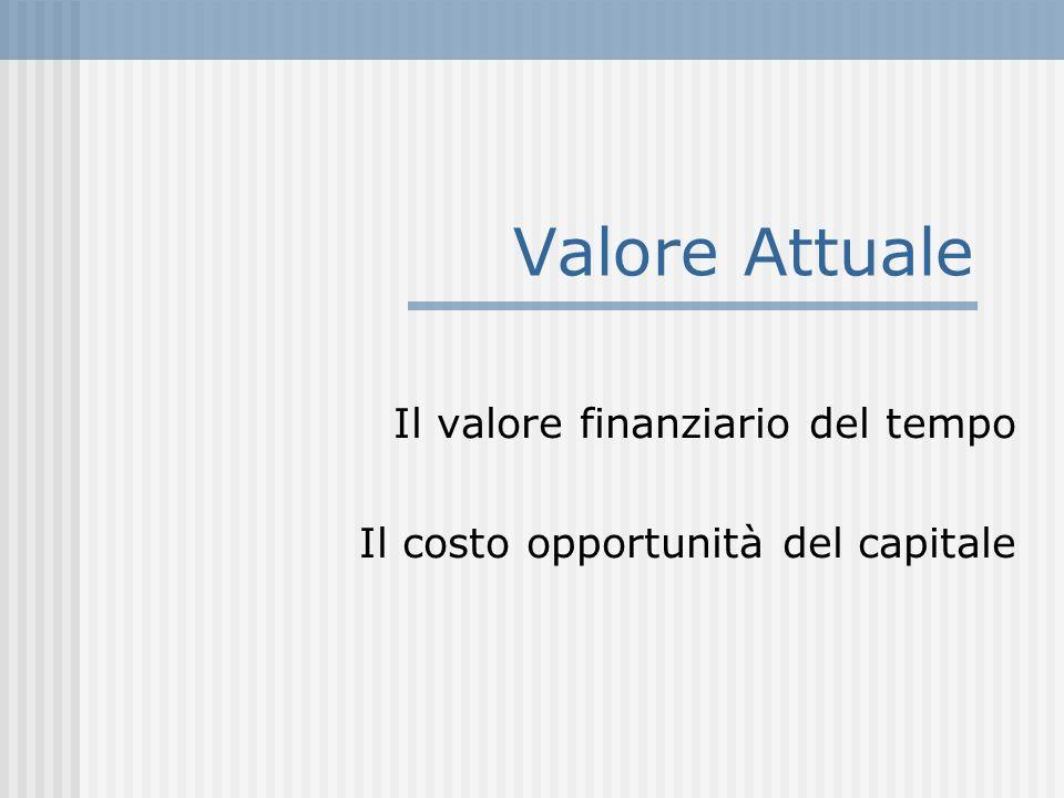 Valore Attuale Il valore finanziario del tempo Il costo opportunità del capitale