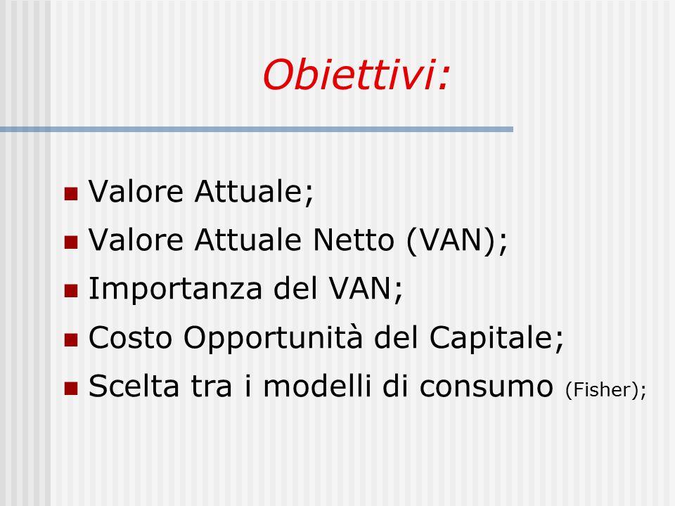 Obiettivi: Valore Attuale; Valore Attuale Netto (VAN); Importanza del VAN; Costo Opportunità del Capitale; Scelta tra i modelli di consumo (Fisher);