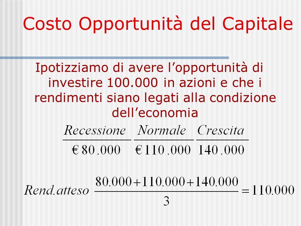 Costo Opportunità del Capitale Ipotizziamo di avere l'opportunità di investire 100.000 in azioni e che i rendimenti siano legati alla condizione dell'economia