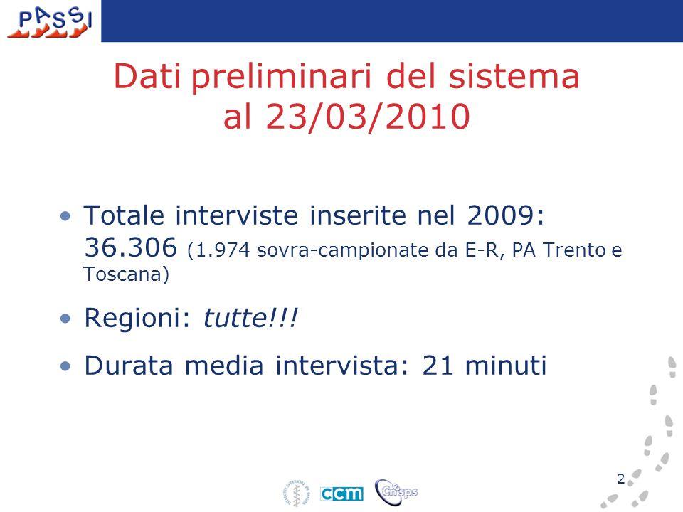 2 Dati preliminari del sistema al 23/03/2010 Totale interviste inserite nel 2009: 36.306 (1.974 sovra-campionate da E-R, PA Trento e Toscana) Regioni: tutte!!.
