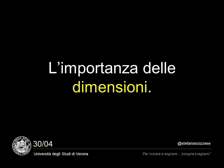 @stefanoscozzese Università degli Studi di Verona Per iniziare a sognare… bisogna svegliarsi 30/04 L'importanza delle dimensioni.