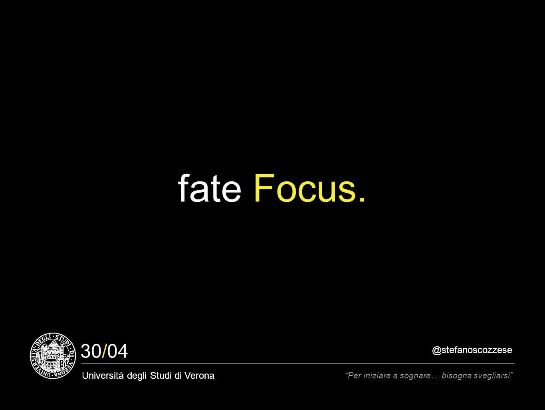 @stefanoscozzese Università degli Studi di Verona Per iniziare a sognare… bisogna svegliarsi 30/04 fate Focus.