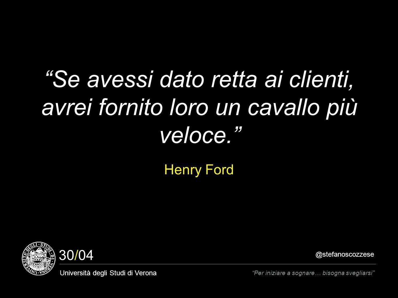 @stefanoscozzese Università degli Studi di Verona Per iniziare a sognare… bisogna svegliarsi 30/04 Se avessi dato retta ai clienti, avrei fornito loro un cavallo più veloce. Henry Ford