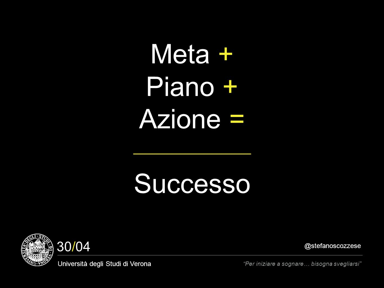 @stefanoscozzese Università degli Studi di Verona Per iniziare a sognare… bisogna svegliarsi 30/04 Meta + Piano + Azione = Successo
