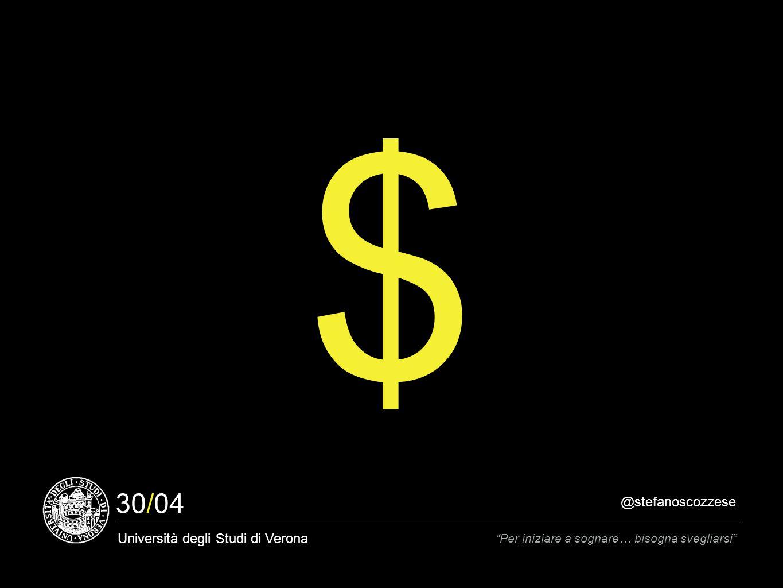 @stefanoscozzese Università degli Studi di Verona Per iniziare a sognare… bisogna svegliarsi 30/04 $