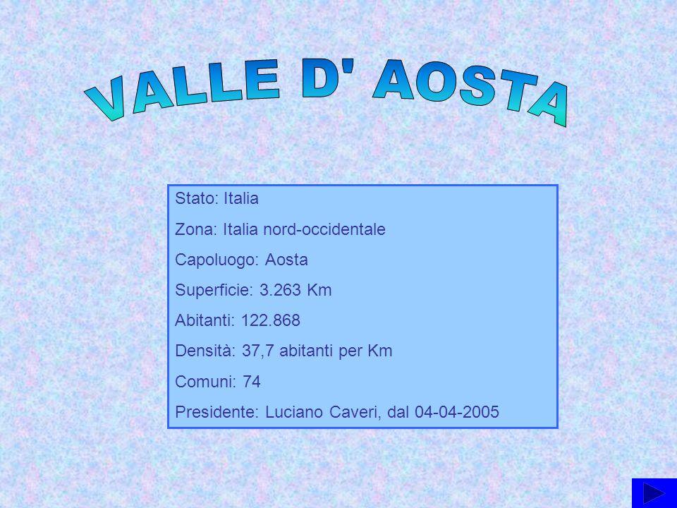 Stato: Italia Zona: Italia nord-occidentale Capoluogo: Aosta Superficie: 3.263 Km Abitanti: 122.868 Densità: 37,7 abitanti per Km Comuni: 74 President