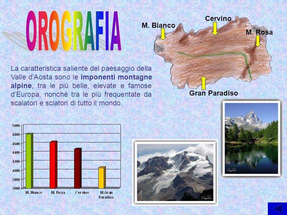 La caratteristica saliente del paesaggio della Valle d'Aosta sono le imponenti montagne alpine, tra le più belle, elevate e famose d'Europa, nonché tr