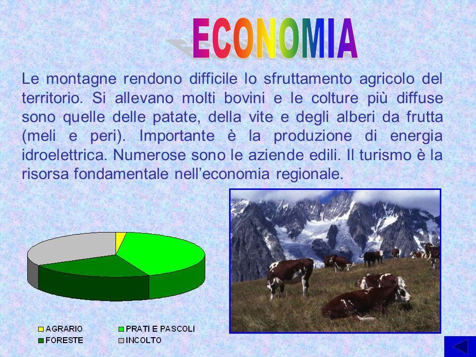 Le montagne rendono difficile lo sfruttamento agricolo del territorio. Si allevano molti bovini e le colture più diffuse sono quelle delle patate, del
