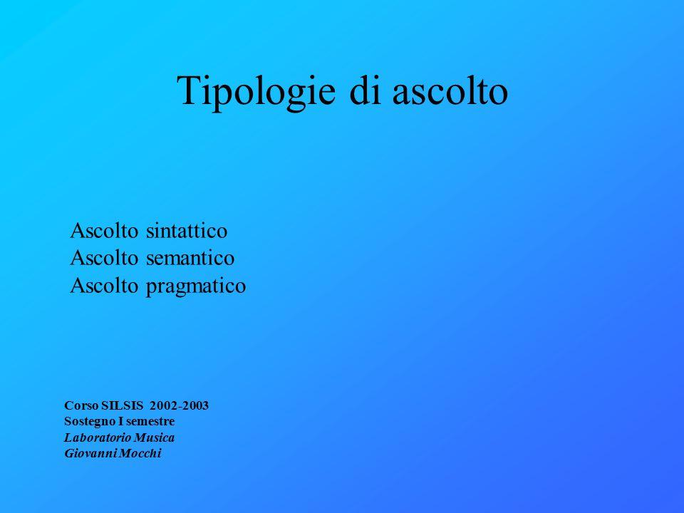 Tipologie di ascolto Corso SILSIS 2002-2003 Sostegno I semestre Laboratorio Musica Giovanni Mocchi Ascolto sintattico Ascolto semantico Ascolto pragmatico