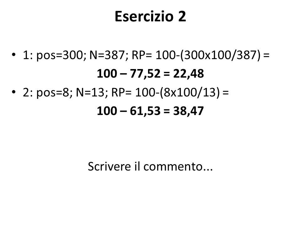 Esercizio 2 1: pos=300; N=387; RP= 100-(300x100/387) = 100 – 77,52 = 22,48 2: pos=8; N=13; RP= 100-(8x100/13) = 100 – 61,53 = 38,47 Scrivere il commento...