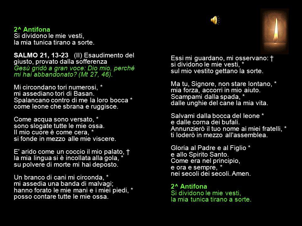 1^ Antifona L'abbiamo visto disprezzato: uomo dei dolori, che conosce il soffrire. SALMO 21, 2-12 (I) Esaudimento del giusto, provato dalla sofferenza