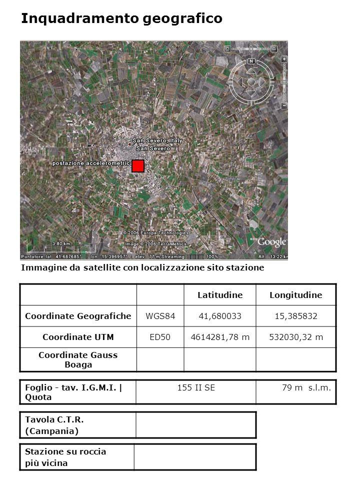 Dati acquisiti dalla stazione Stazione di SAN SEVERO N° di registrazioni acquisite PGA max registrata [cm/s 2 ] Data evento in cui si è registrata il max valore di accelerazione 560,74031/10/2002