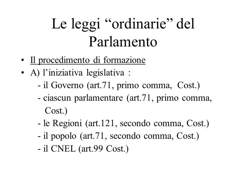 Le leggi ordinarie del Parlamento Il procedimento di formazione A) l'iniziativa legislativa : - il Governo (art.71, primo comma, Cost.) - ciascun parlamentare (art.71, primo comma, Cost.) - le Regioni (art.121, secondo comma, Cost.) - il popolo (art.71, secondo comma, Cost.) - il CNEL (art.99 Cost.)