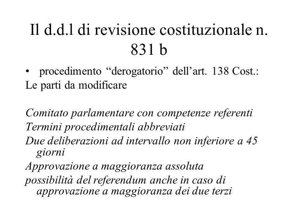 Il d.d.l di revisione costituzionale n. 831 b procedimento derogatorio dell'art.
