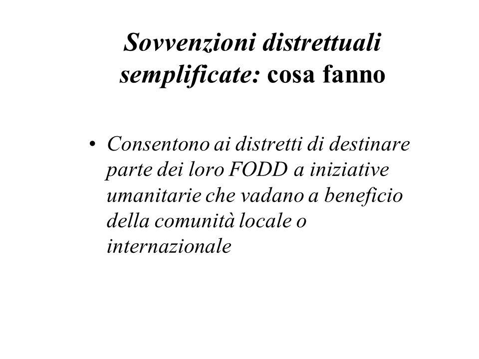 Sovvenzioni distrettuali semplificate: cosa fanno Consentono ai distretti di destinare parte dei loro FODD a iniziative umanitarie che vadano a benefi