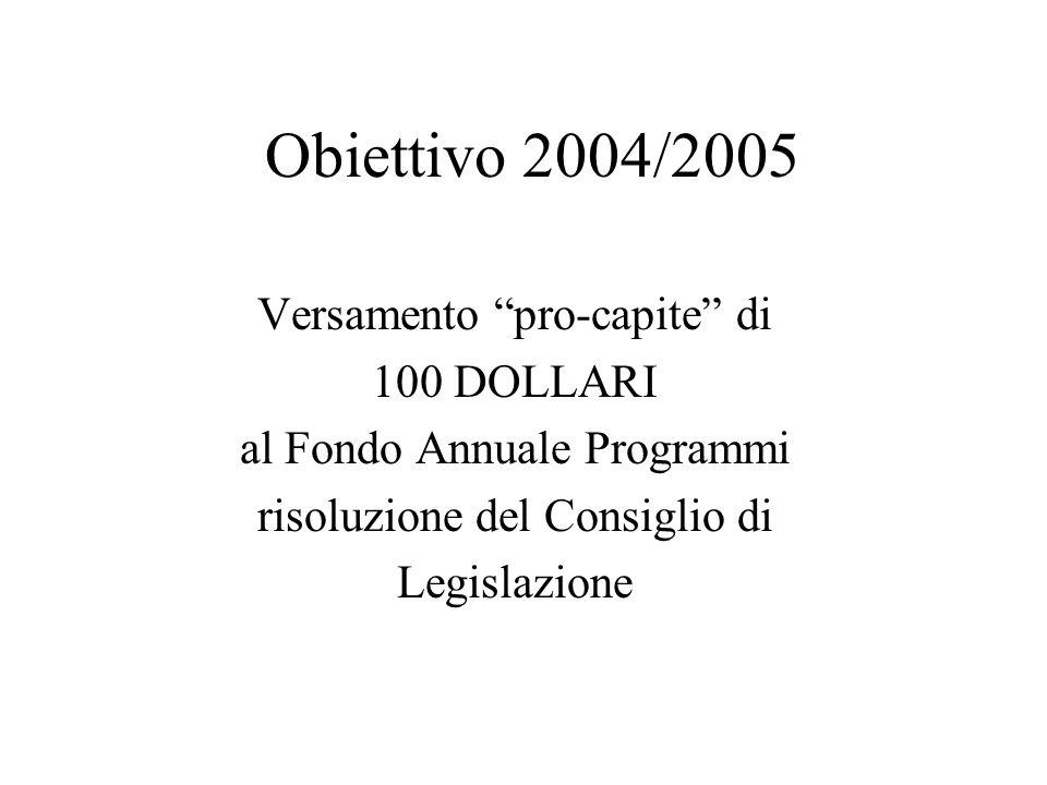 Obiettivo 2004/2005 Versamento pro-capite di 100 DOLLARI al Fondo Annuale Programmi risoluzione del Consiglio di Legislazione