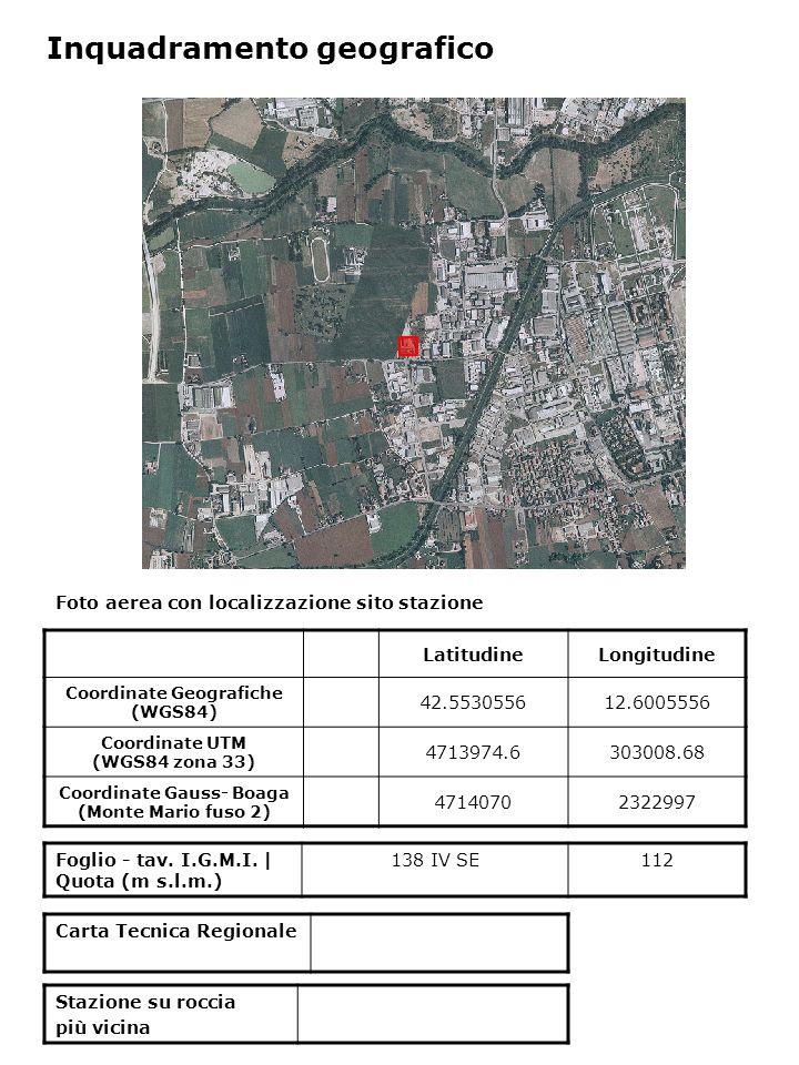 Foto aerea con localizzazione sito stazione Foglio - tav. I.G.M.I. | Quota (m s.l.m.) 138 IV SE112 Inquadramento geografico LatitudineLongitudine Coor