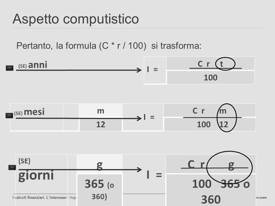 Aspetto computistico I calcoli finanziari. L'interesse> Aspetto computistico Pertanto, la formula (C * r / 100) si trasforma: (SE) anni (SE) mesi m I