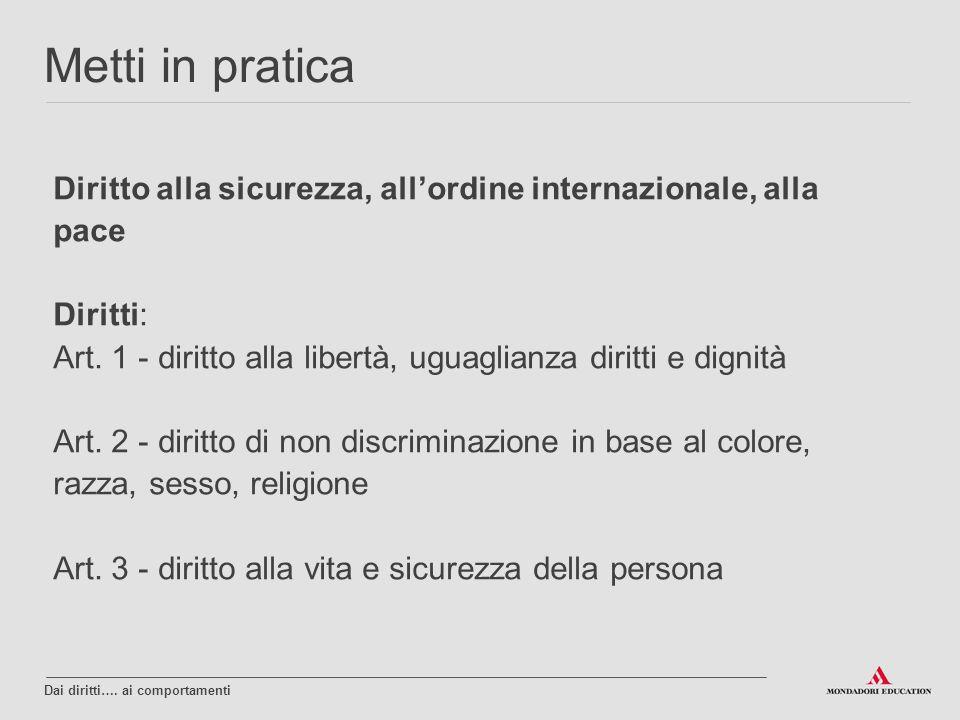 Diritto alla sicurezza, all'ordine internazionale, alla pace Diritti: Art. 1 - diritto alla libertà, uguaglianza diritti e dignità Art. 2 - diritto di