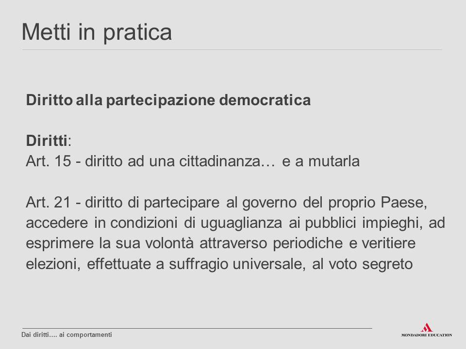 Diritto alla partecipazione democratica Diritti: Art. 15 - diritto ad una cittadinanza… e a mutarla Art. 21 - diritto di partecipare al governo del pr