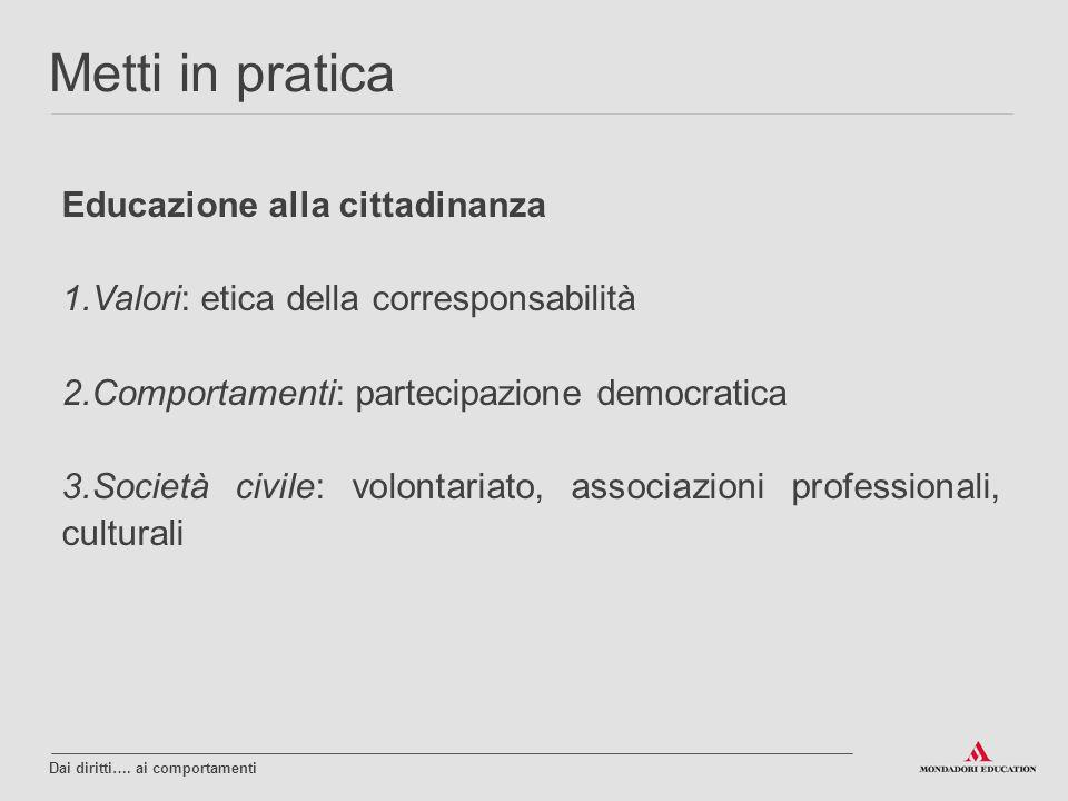 Educazione alla cittadinanza 1.Valori: etica della corresponsabilità 2.Comportamenti: partecipazione democratica 3.Società civile: volontariato, assoc