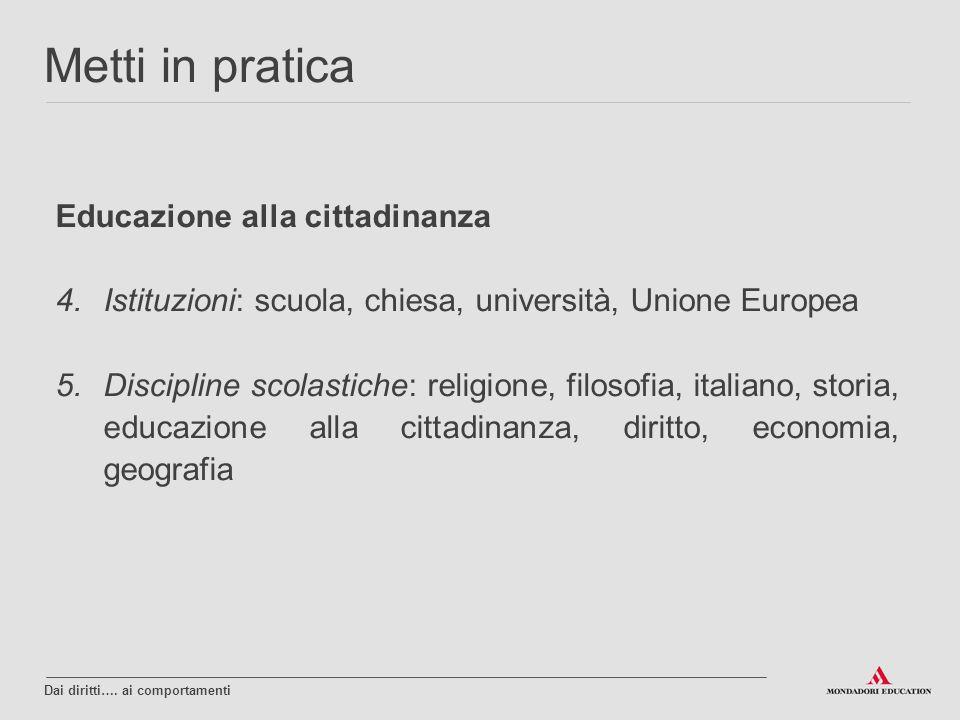 Educazione alla cittadinanza 4.Istituzioni: scuola, chiesa, università, Unione Europea 5.Discipline scolastiche: religione, filosofia, italiano, stori