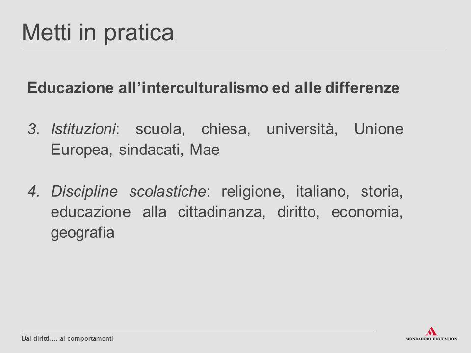 Educazione all'interculturalismo ed alle differenze 3.Istituzioni: scuola, chiesa, università, Unione Europea, sindacati, Mae 4.Discipline scolastiche