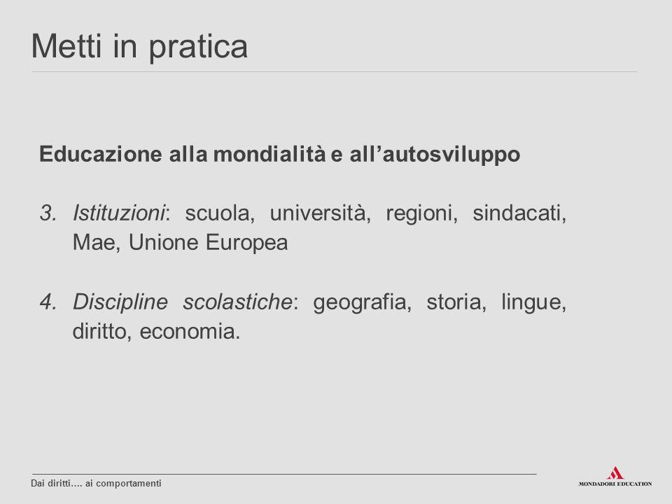 Educazione alla mondialità e all'autosviluppo 3.Istituzioni: scuola, università, regioni, sindacati, Mae, Unione Europea 4.Discipline scolastiche: geo