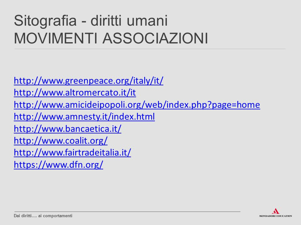 http://www.greenpeace.org/italy/it/ http://www.altromercato.it/it http://www.amicideipopoli.org/web/index.php?page=home http://www.amnesty.it/index.ht