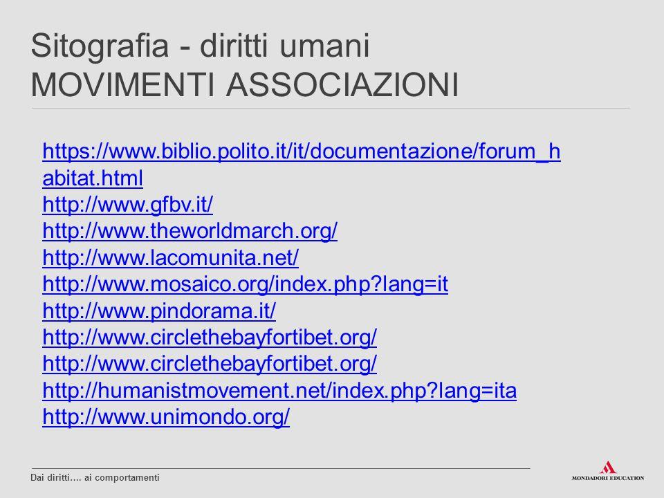 https://www.biblio.polito.it/it/documentazione/forum_h abitat.html http://www.gfbv.it/ http://www.theworldmarch.org/ http://www.lacomunita.net/ http:/