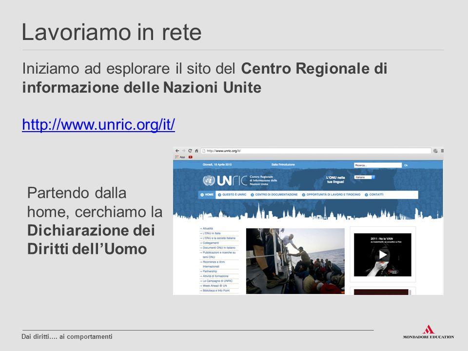 Iniziamo ad esplorare il sito del Centro Regionale di informazione delle Nazioni Unite http://www.unric.org/it/ Lavoriamo in rete Dai diritti…. ai com