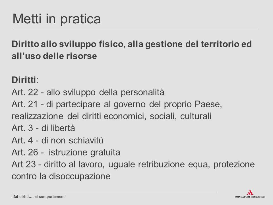Diritto allo sviluppo fisico, alla gestione del territorio ed all'uso delle risorse Diritti: Art. 22 - allo sviluppo della personalità Art. 21 - di pa