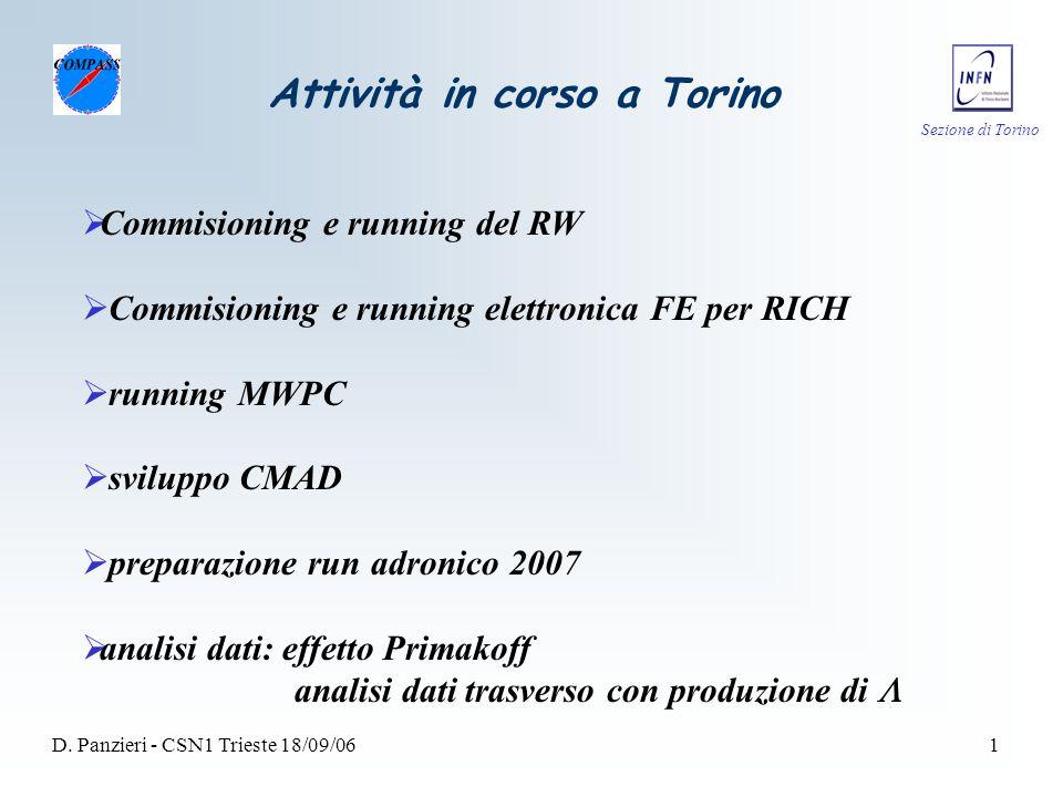 Sezione di Torino D. Panzieri - CSN1 Trieste 18/09/061 Attività in corso a Torino  Commisioning e running del RW  Commisioning e running elettronica