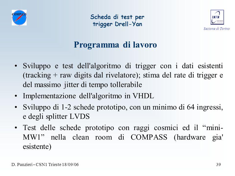 Sezione di Torino D. Panzieri - CSN1 Trieste 18/09/0639 Scheda di test per trigger Drell-Yan Sviluppo e test dell'algoritmo di trigger con i dati esis