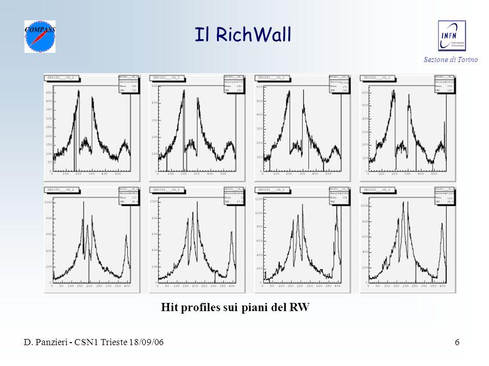 Sezione di Torino D. Panzieri - CSN1 Trieste 18/09/066 Il RichWall Hit profiles sui piani del RW
