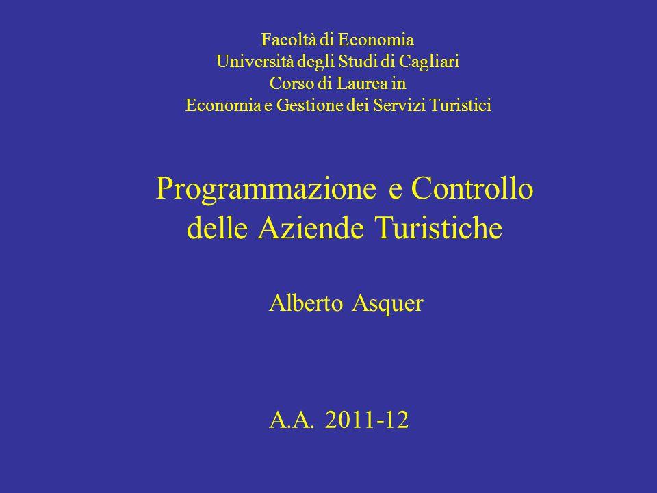 Facoltà di Economia Università degli Studi di Cagliari Corso di Laurea in Economia e Gestione dei Servizi Turistici Programmazione e Controllo delle Aziende Turistiche Alberto Asquer A.A.