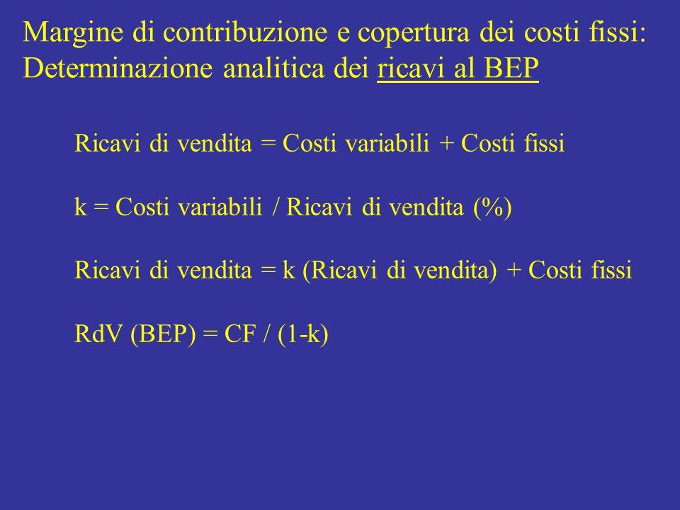 Ricavi di vendita = Costi variabili + Costi fissi k = Costi variabili / Ricavi di vendita (%) Ricavi di vendita = k (Ricavi di vendita) + Costi fissi RdV (BEP) = CF / (1-k) Margine di contribuzione e copertura dei costi fissi: Determinazione analitica dei ricavi al BEP