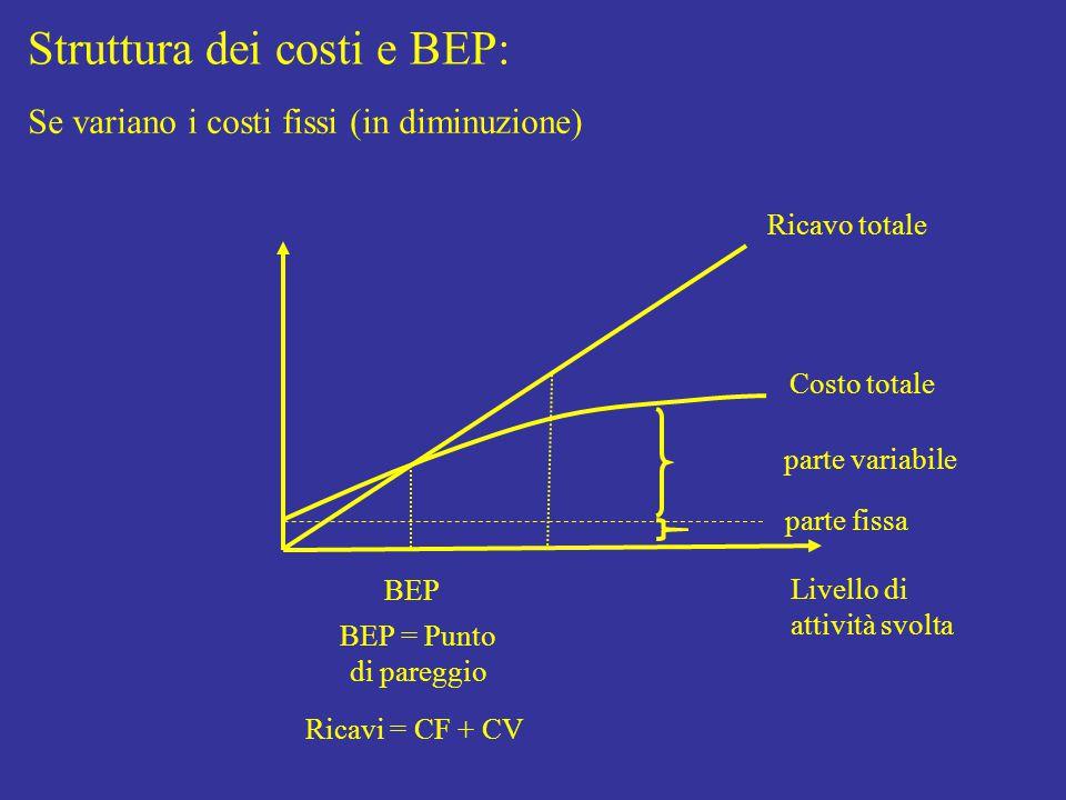 Struttura dei costi e BEP: Livello di attività svolta Costo totale parte fissa parte variabile Ricavo totale BEP BEP = Punto di pareggio Ricavi = CF + CV Se variano i costi fissi (in diminuzione)