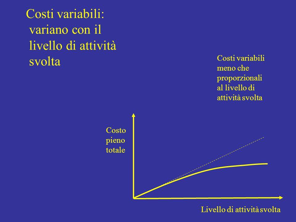 Livello di attività svolta Costo pieno totale Costi variabili meno che proporzionali al livello di attività svolta Costi variabili: variano con il livello di attività svolta