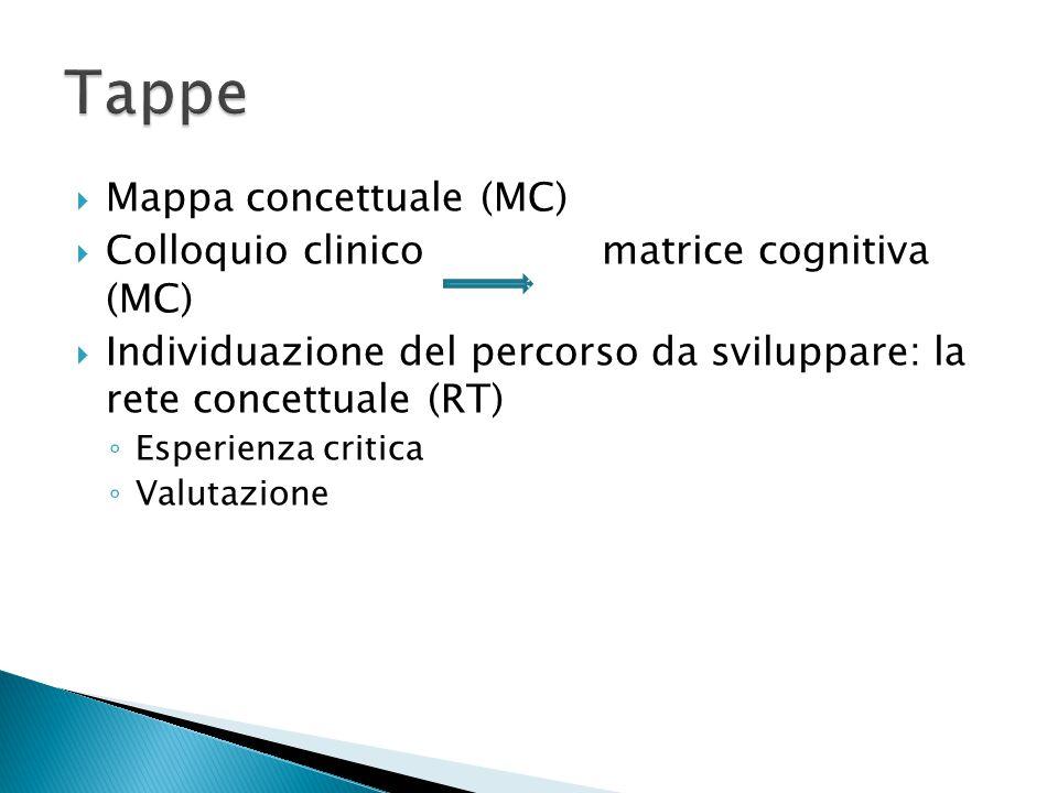  Mappa concettuale (MC)  Colloquio clinico matrice cognitiva (MC)  Individuazione del percorso da sviluppare: la rete concettuale (RT) ◦ Esperienza critica ◦ Valutazione
