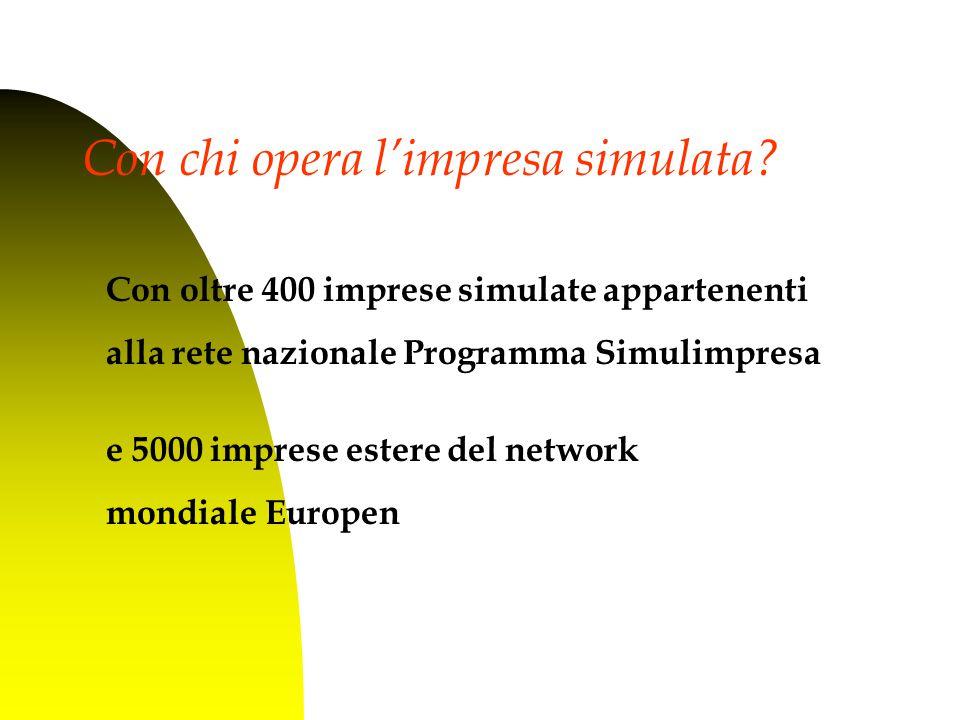 Con oltre 400 imprese simulate appartenenti alla rete nazionale Programma Simulimpresa e 5000 imprese estere del network mondiale Europen Con chi opera l'impresa simulata