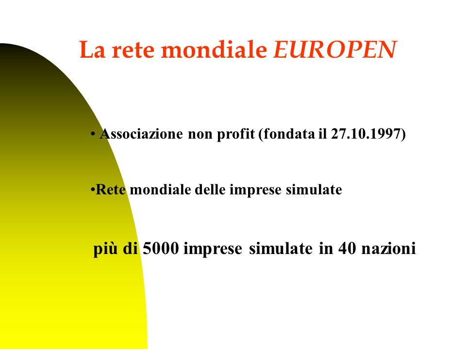 Associazione non profit (fondata il 27.10.1997) Rete mondiale delle imprese simulate più di 5000 imprese simulate in 40 nazioni La rete mondiale EUROPEN