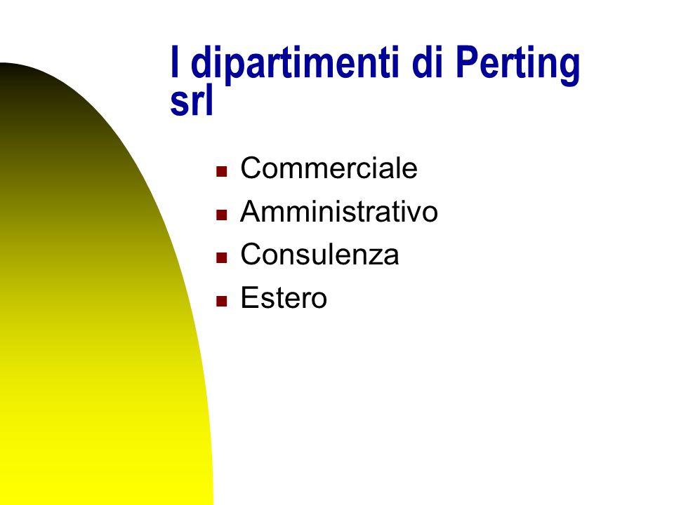 I dipartimenti di Perting srl Commerciale Amministrativo Consulenza Estero
