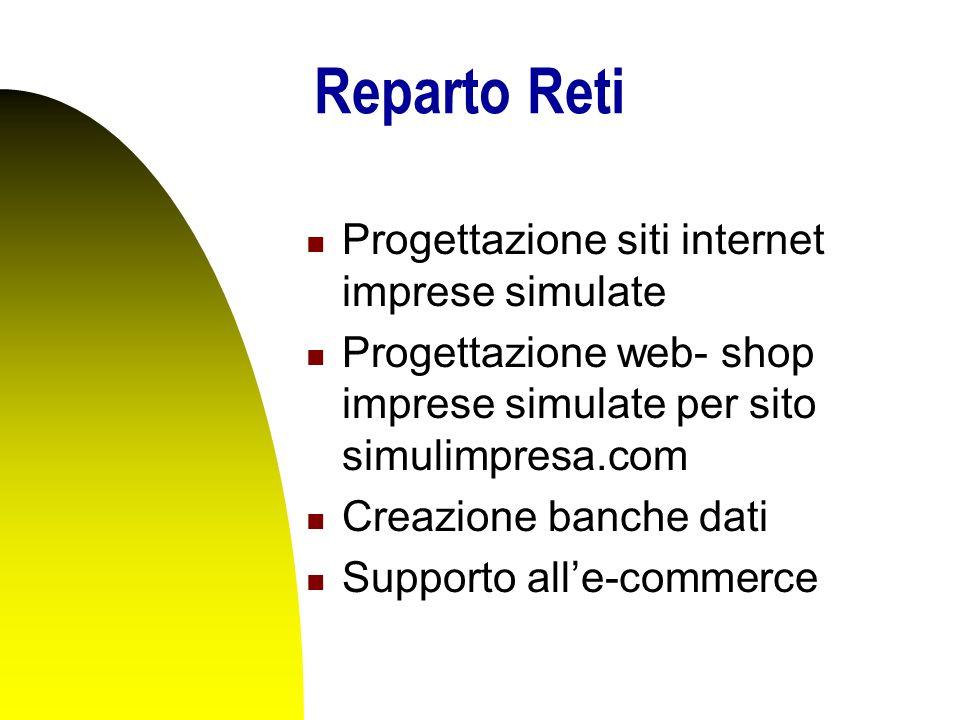 Reparto Reti Progettazione siti internet imprese simulate Progettazione web- shop imprese simulate per sito simulimpresa.com Creazione banche dati Supporto all'e-commerce
