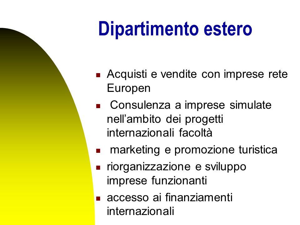 Dipartimento estero Acquisti e vendite con imprese rete Europen Consulenza a imprese simulate nell'ambito dei progetti internazionali facoltà marketing e promozione turistica riorganizzazione e sviluppo imprese funzionanti accesso ai finanziamenti internazionali