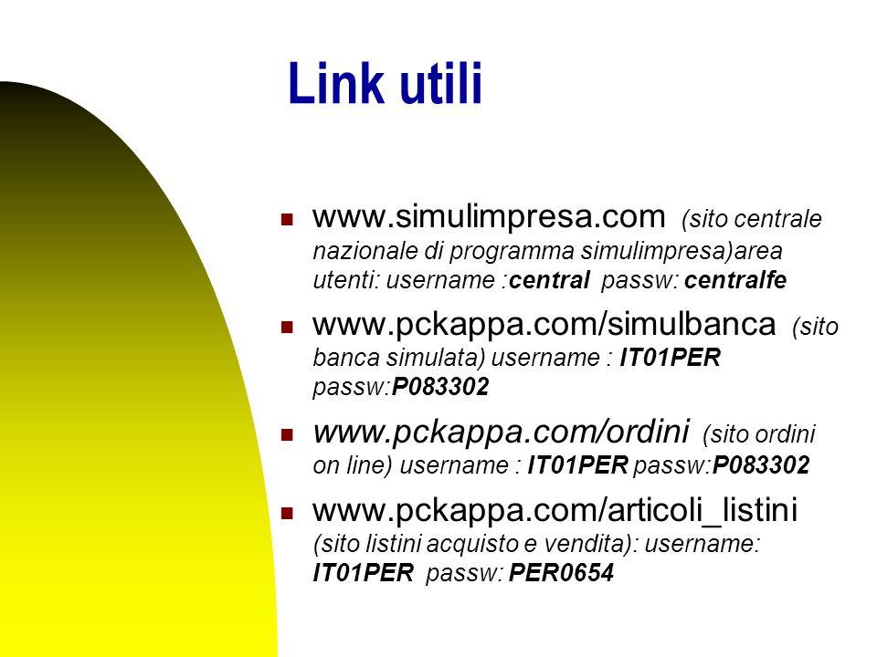 Link utili www.simulimpresa.com (sito centrale nazionale di programma simulimpresa)area utenti: username :central passw: centralfe www.pckappa.com/simulbanca (sito banca simulata) username : IT01PER passw:P083302 www.pckappa.com/ordini (sito ordini on line) username : IT01PER passw:P083302 www.pckappa.com/articoli_listini (sito listini acquisto e vendita): username: IT01PER passw: PER0654