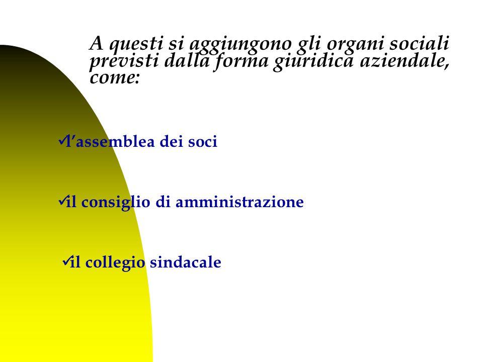 l'assemblea dei soci il consiglio di amministrazione il collegio sindacale A questi si aggiungono gli organi sociali previsti dalla forma giuridica aziendale, come: